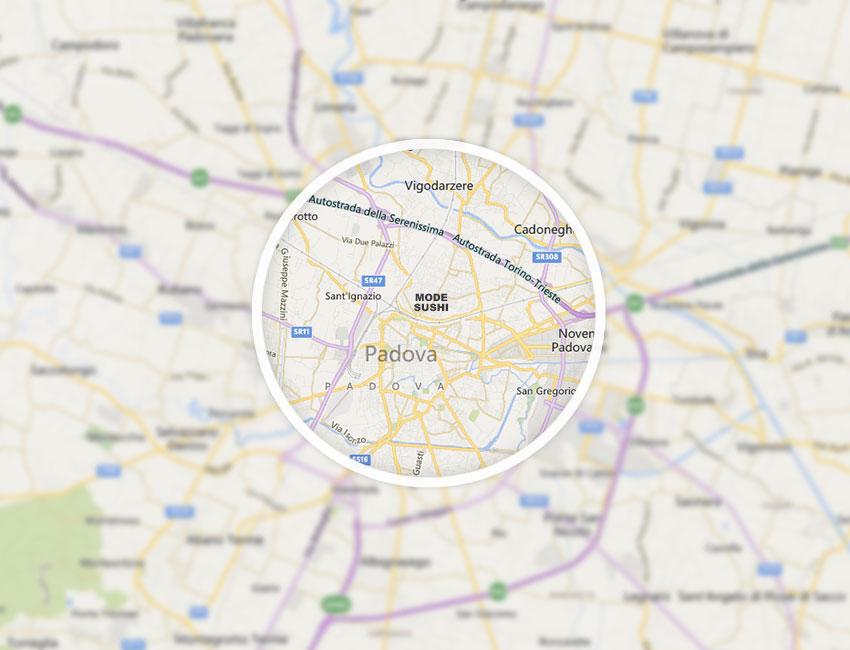 Mappa zona servita per consegna a domicilio - Mode Sushi Padova - Ristorante, Take Away e Delivery