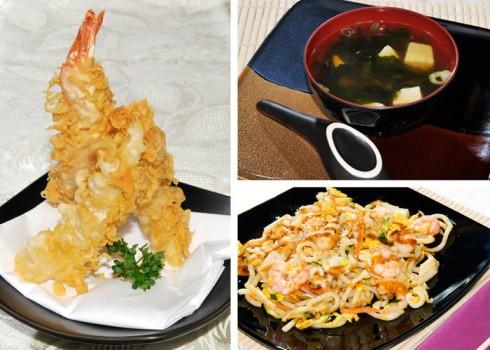 MENÙ PER PRANZO E - Spaghetti udon, tempura di mare e zuppa di miso